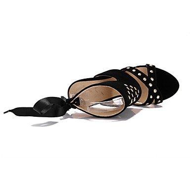 Talones de las mujeres Zapatos Primavera Verano Otoño club de cuero para oficina y del partido de la carrera y del vestido de noche del tacón de aguja con cordones Negro Azul Rojo Red