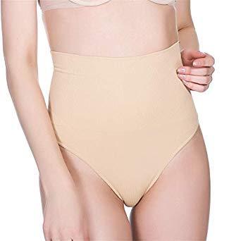 08e92faa0ff22 Buy Women High Waist Trainer Tummy Slimming Control Waist Cincher Body  Shaper Thong G-String Butt Lifter Seamless Panties Color Beige Size XXXL  Online at ...