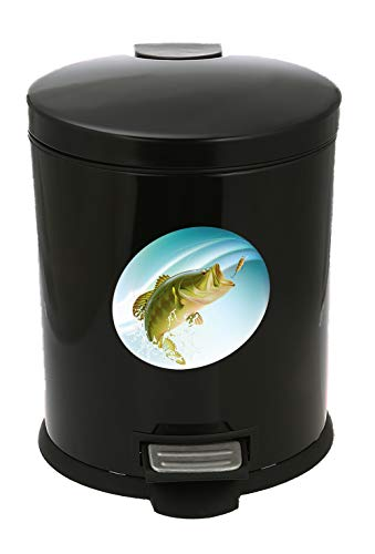 3.1 Gallon Oval Black Metal Step-On Trash Can Featuring Your Choice of an Animal Themed Vinyl Decal - Free Trash Bag Included (Red Roosters)