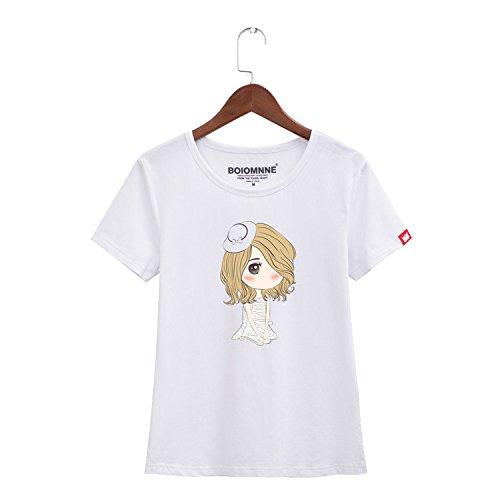Manga Imprimir De T Mujer Corta Casual La camiseta shirt Blanco amp;x Tops Cxq Qin XTgxnwz
