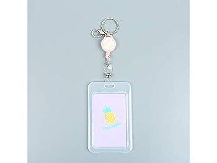 ae03e984dd1c Gelaiken Keyring ID Card Holders Cartoon Pineapple Bus Pass Credit ...