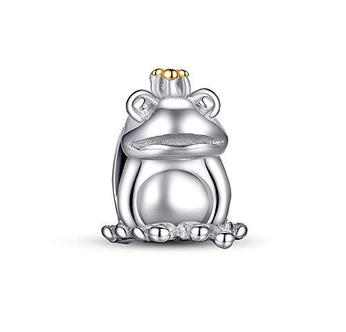 MiniJewelry Prince Frog Charm for Bracelets 925 Sterling Silver Animal Bead