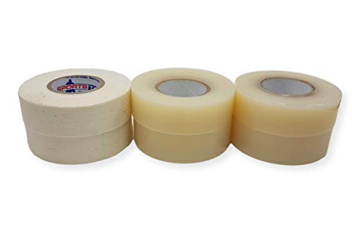 - White Hockey Tape Combo Pack - Two White Stick Tape and Four Clear Sock Tape Rolls