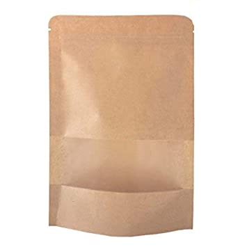 SumDirect Kraft Zip Lock Stand Up Food Bags Resealable Pouches with Notch and Matte Window,3.5x5.5 Inches,0.93oz,Pack of 50 KBSY006