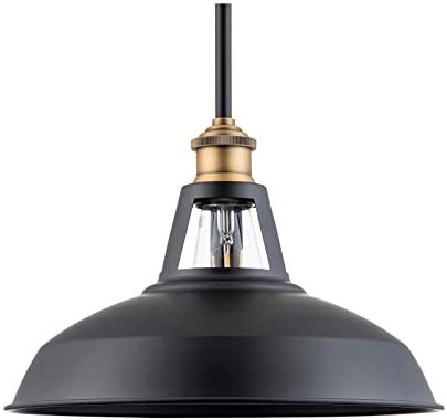 Olivera 12 inch Pendant Light Black w Antique Brass Pendant Lighting for Kitchen Island with LED Bulb LL-P855-7SBK