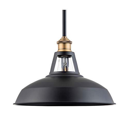 Olivera 12 inch Pendant Light | Black w/Antique Brass Pendant Lighting for Kitchen Island with LED Bulb LL-P855-7SBK ()