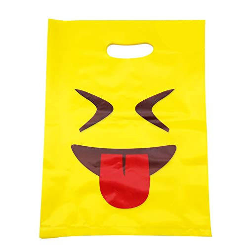 50PC Emoji Shopping Plastic Bags Cute Glossy Merchandise Handy Retail Favor for Children's Birthday Party Gift Smile Kiddie Treats such as Toys and Candies 12