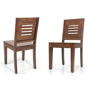 Urban Ladder Capra Solid Wood Dining Chairs, Set of 2 (Teak Finish)