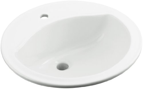 STERLING 441901-0 Modesto 19-Inch by 19-Inch by 8-Inch Round Lavatory with Single Faucet Hole Drilling, White