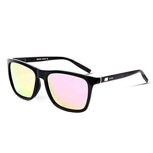BOYOU Polarized Sunglasses For Women Retro Sunglasses Sports Driving Fishing Metal UV400 Protection Lens Pink