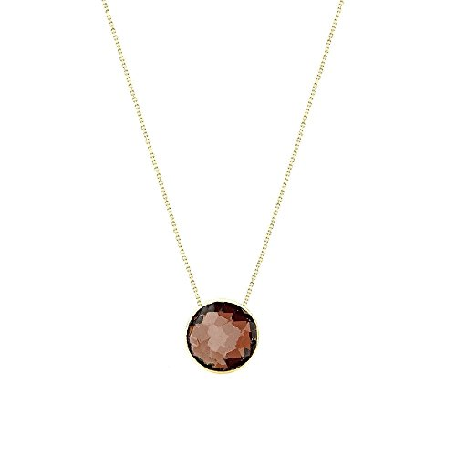 14k Yellow Gold Handmade Necklace With 6mm Round Shape Checkerboard Garnet Solitaire Round Shape Checkerboard