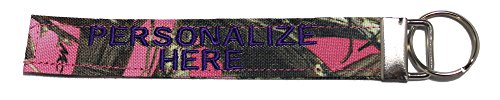 Northern Safari Personalized Military Name Tapes Logo Key Chain/Luggage and/or Crate Tags, Pink Timber Camo, 6