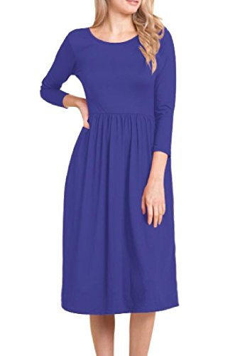 Pleated Fall Dress Coolred Mid Sleeve Women Pockets As5 Big Long Winter FqtUZ