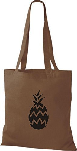 ShirtInStyle Bolso de tela Bolsa de algodón Tu Favorita frutas y hortalizas Piña - fucsia, 38 cm x 42 cm marrón medio