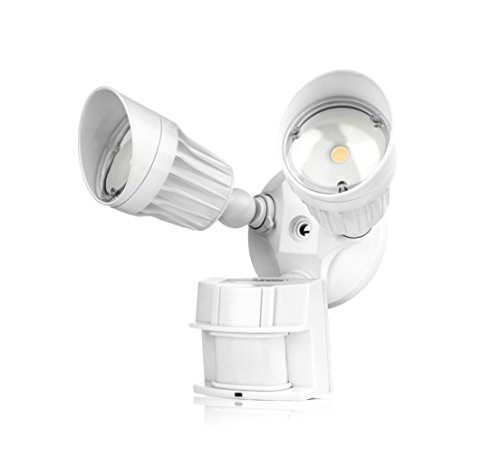 Hyperikon LED Security Light with Motion Sensor, LED Outdoor Flood Light Dusk to Dawn, 20W, 2 Head, White Motion Light, 5000K