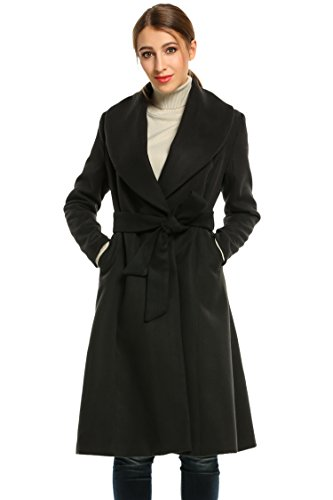 Hotouch Women Lapel Single Wool Overcoat Long Swing Coat Jacket Black M
