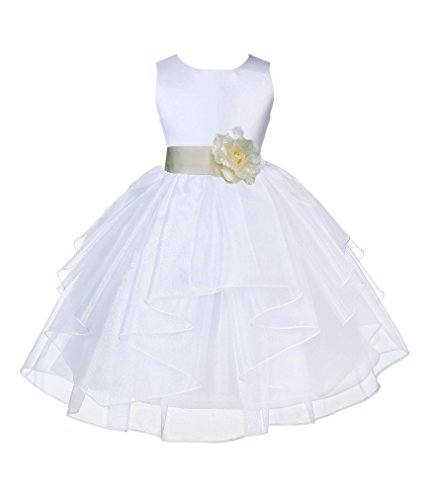 Wedding Pageant White Shimmering Organza Flower Girl Dress 4613S 6