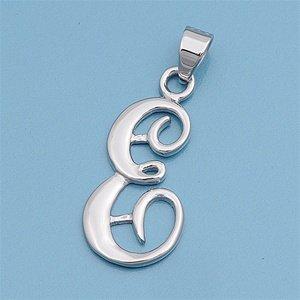 925 Sterling Silver Letter E Classic Script Initial Pendant 30MM (FREE 18 Inch Box (Classic Womens Pendant)