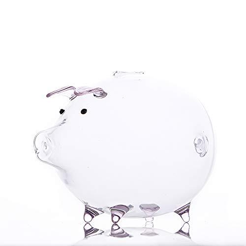 Erreloda Pig Piggy Bank Creative Transparent Glass Coin Bank Small Piggy Bank Money for Children Boys and Girls Birthday Gifts Home Decorative Gift Box Pink ()