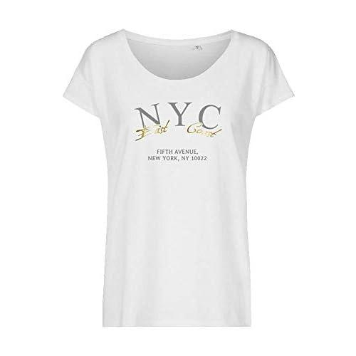 Shirt Top T-Shirt Freizeit Aufdruck neu lässig Einheitsgröße 34 36 38 40 schwarz