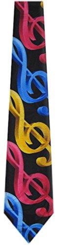 MN-302 - Mens Novelty Musical Notes Necktie - Black Gold Pink