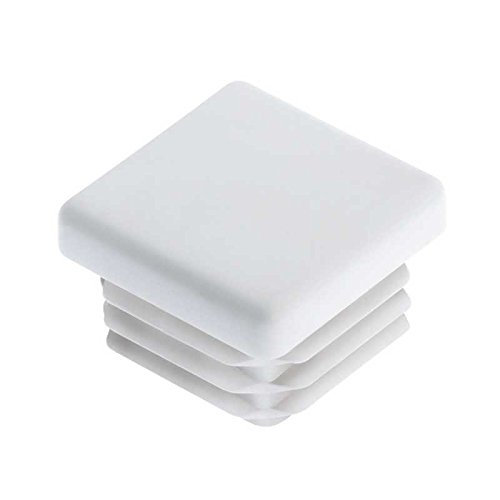 10 Pack: 1 Inch Square White Plastic Plug Tubing End Cap Durable Chair Glide (Steel Cap White Rod)