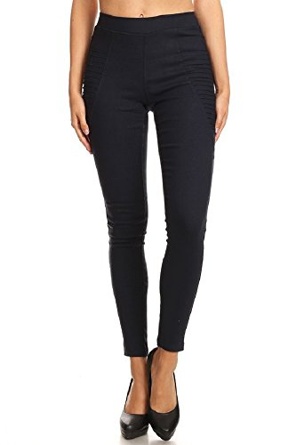 Womens Pleated Twill Shorts - Jvini Women's High Waist Super Stretch Pull-On Moto Skinny Jeggings with Pockets (Large, Navy-Pleated)