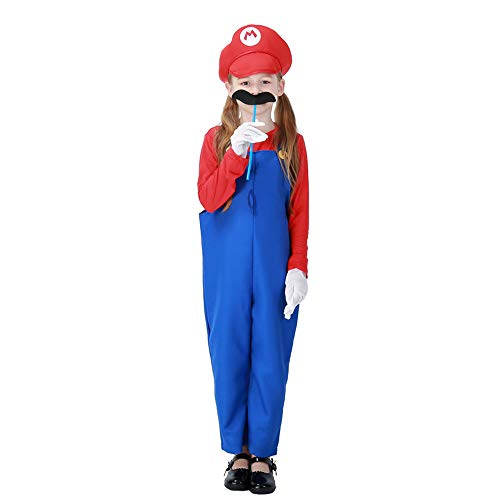 (Children's Super Plumber Bros Costume Boys Girls Overalls Role Play with Moustache & Gloves,Red)