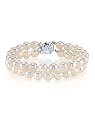 THE PEARL SOURCE 14K Gold 7-7.5mm AAA Quality White Double Japanese Akoya Saltwater Cultured Pearl Bracelet for -
