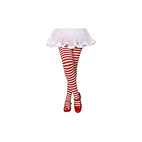 MUSICLEGS Girls Red and White Striped Tights (S) -
