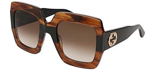 (Gucci sunglasses (GG-0178-S 004) Transparent Havana - Shiny Black - Brown Gradient lenses)