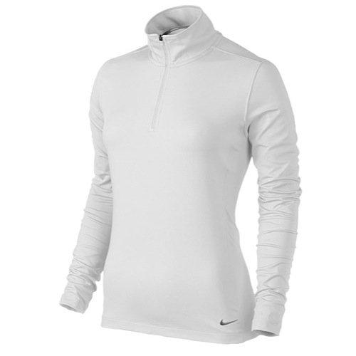 Nike Women's 1/2-Zip Key Cover-Up - White/Metallic Silver Large