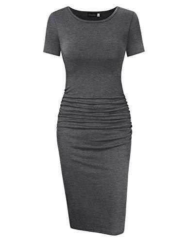 GloryStar Women's Long Sleeve Ruched Bodycon Midi Sheath Pencil Dress (XL, Short Sleeve Grey)