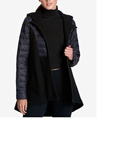 DKNY Sport Mixed Media Hooded Swing Coat, Black, (Dkny Nylon Coat)
