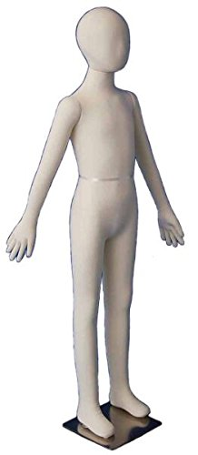 AMKO FLC9 Flexible Children Mannequin 9 Year Old, 50'' Height, Crack Resistance, Soft Polyurethane Foam Body, Neutral Cream Padded, Jersey Finish, Glass Stand, Head Can Removed & Replaced by AMKO