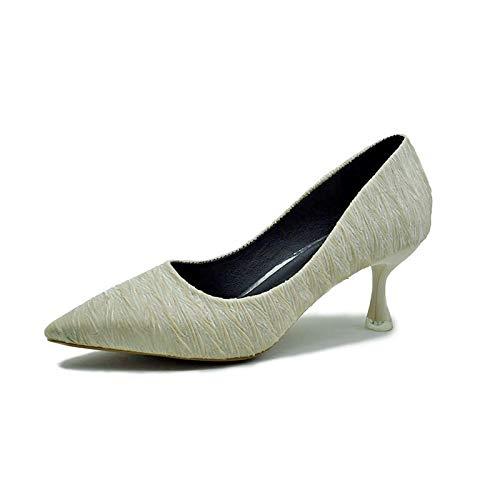 De Tacones alto De Aguja Versátiles Creamy Zapatos De tacón Trabajo de zapatos Individuales Gato De Acentuados Yukun Tacones Zapatos Acentuados Mujer Aguja White Las Y Señoras qt8zYxw