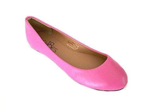 Shoes8teen Sko 18 Kvinners Ballerina Ballett Flate Sko Tørrstoff Og Leoparder ... Rosa Pu 8600