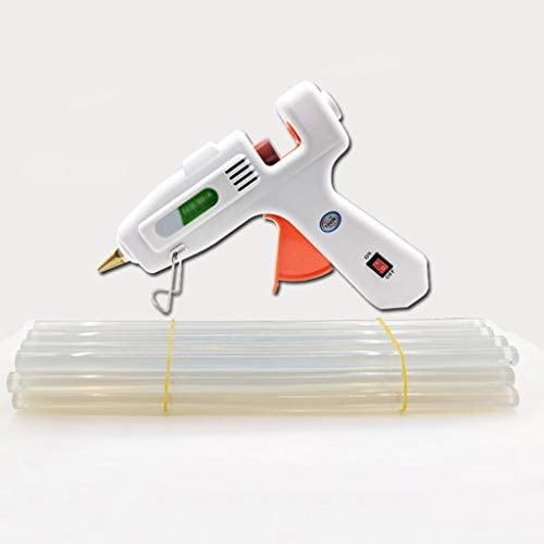 ビズアイ ホットメルト接着剤、スティックのりと銅ノズルを、DIY高温・高速暖房に使用することができガン、100W工業用グレードホットグルーガンキット、工芸、ホワイト ホットグルーガン (Color : B)