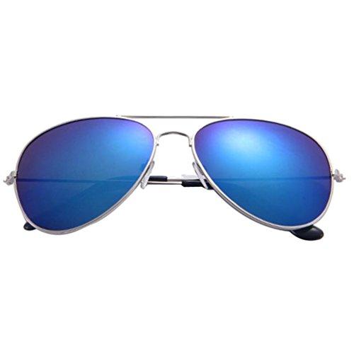 Sol Espejo Marco del Aviador de Lente Metal azul Clásico Gusspower de Gafas Plata aUwvT