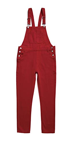 Women's Classic Bib Overalls Denim Blue Strap Ripped Hole Denim Jeans (S, Red)