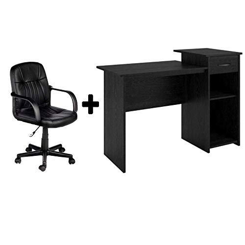 Student/Office Home Desk in Black Ebony Ash + Leather Mid-Back Chair in Black - Bundle Set