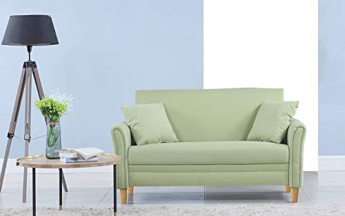 Divano Roma Furniture Modern 2 Tone Small Space Linen Fabric Loveseat (Green) ()
