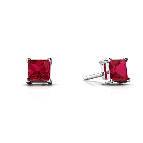 14kt White Gold Lab Ruby 4mm Square Princess Cut Stud Earrings ()