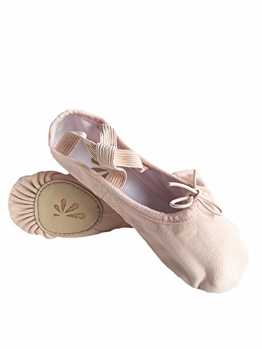 DANCE YOU 1104-1 Canvas Ballet Slippers with Split Sole Ballet Dance Shoes for Women and girls Pink Size 13 Child-5.5 Adult WE76wqF