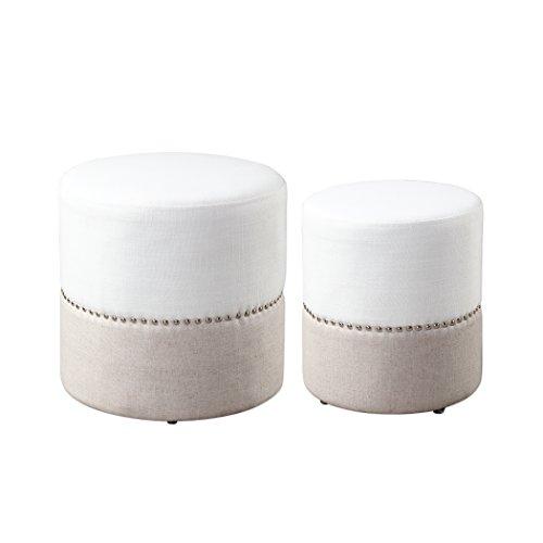 - Mid century Modern Round Two Tone Ottoman Set | Nesting Drum Nailhead White