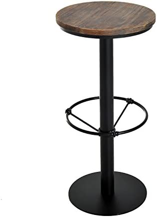 HomCom 42 Rustic Industrial Metal Pine Wood Top Bar Height Adjustable Standing Pub Table