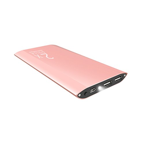 DULLA M50000 Portable Power Bank 12000mAh External Battery Charger, Ultra Slim Design with 2 USB Ports for iPhone, iPad, Galaxy and More (rose gold)