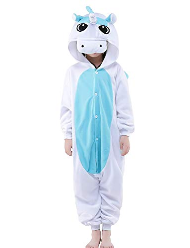 Blue Unicorn Onesie Pajamas Cosplay Costume for Kids 3t 4t 5t Winter Sleepwear for $<!--$22.99-->