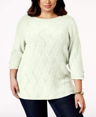 Charter Club Ivory Geometric Jewel Neck 3/4 Sleeve Sweater Plus XL ()