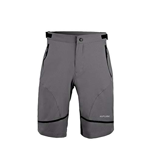 Hifunk Men's MTB Mountain Bike Cycling Shorts Loose-Fit Quick Dry Lightweight Baggy Bicycle Short Water-Resistant UPF 50+(Grey,S)